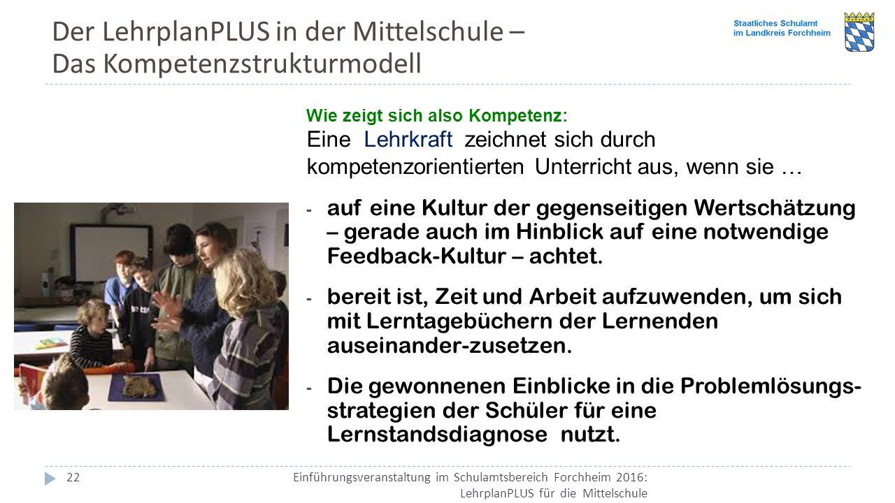 Der LehrplanPLUS in der Mittelschule – Das Kompetenzstrukturmodell Einführungsveranstaltung im Schulamtsbereich Forchheim 2016: LehrplanPLUS für die M