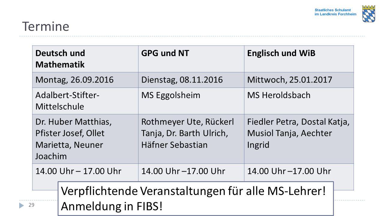 Termine Einführungsveranstaltung im Schulamtsbereich Forchheim 2016: LehrplanPLUS für die Mittelschule 29 Deutsch und Mathematik GPG und NTEnglisch un