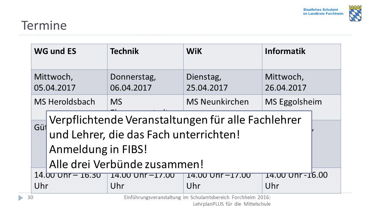Termine Einführungsveranstaltung im Schulamtsbereich Forchheim 2016: LehrplanPLUS für die Mittelschule 30 WG und ESTechnikWiKInformatik Mittwoch, 05.0