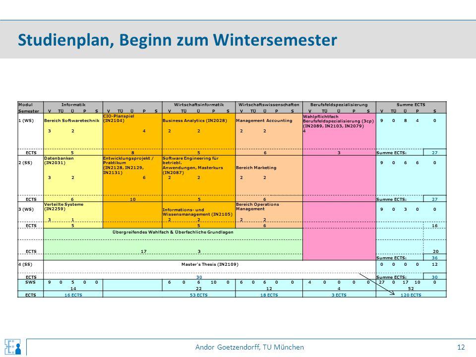 Andor Goetzendorff, TU München Studienplan, Beginn zum Wintersemester 12 ModulInformatik WirtschaftsinformatikWirtschaftswissenschaftenBerufsfeldspezi