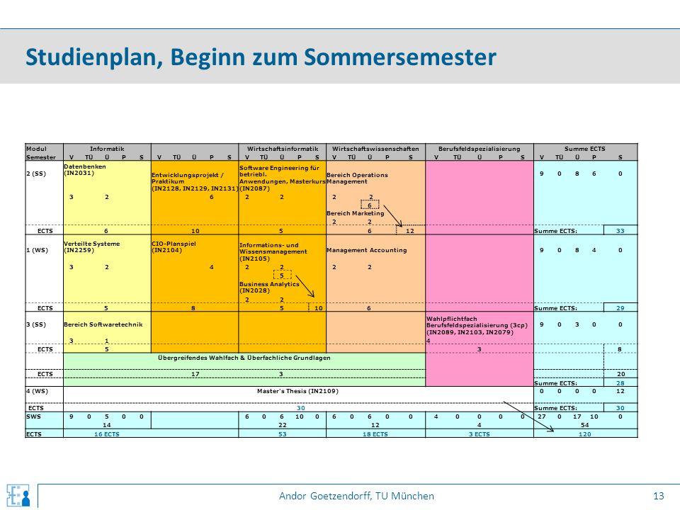 Andor Goetzendorff, TU München Studienplan, Beginn zum Sommersemester 13 ModulInformatik WirtschaftsinformatikWirtschaftswissenschaftenBerufsfeldspezi