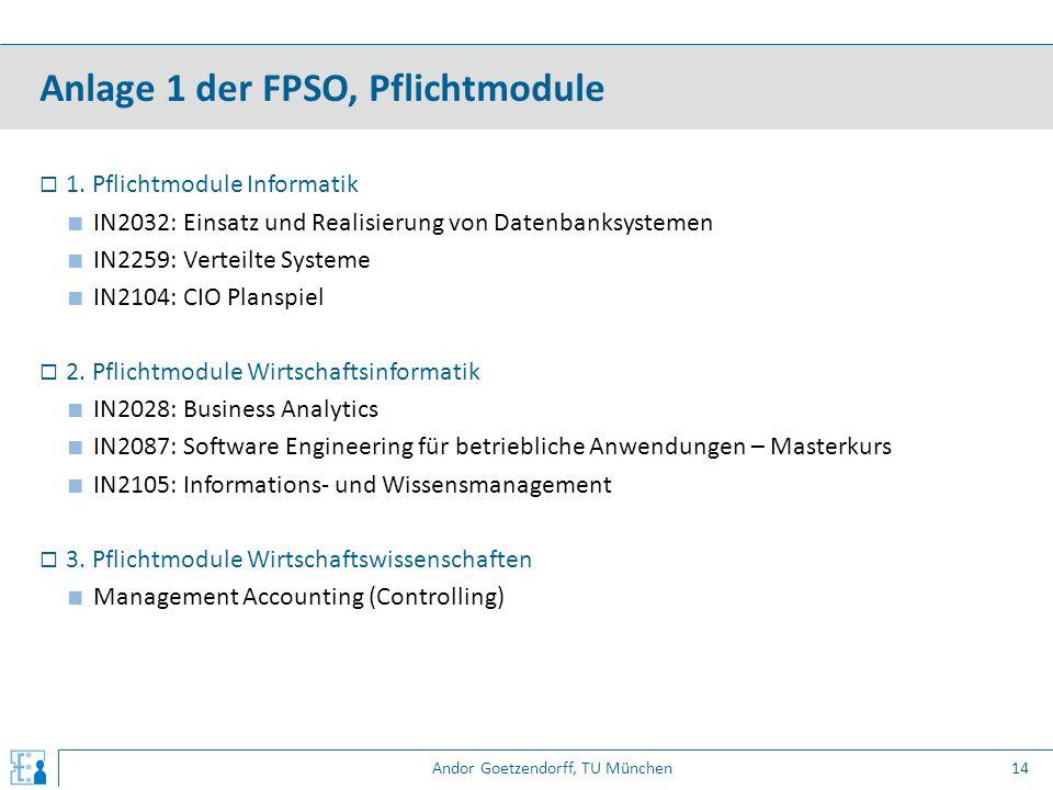 Andor Goetzendorff, TU München  1. Pflichtmodule Informatik ■ IN2032: Einsatz und Realisierung von Datenbanksystemen ■ IN2259: Verteilte Systeme ■ IN