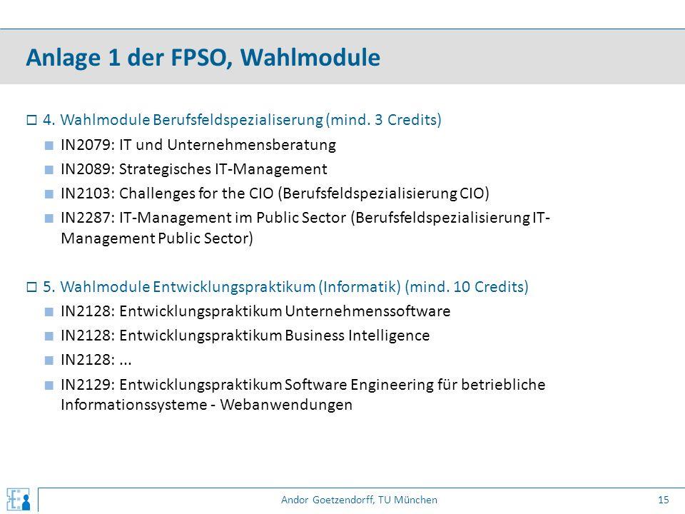 Andor Goetzendorff, TU München  4. Wahlmodule Berufsfeldspezialiserung (mind. 3 Credits) ■ IN2079: IT und Unternehmensberatung ■ IN2089: Strategische