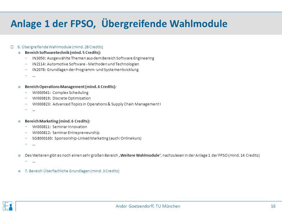 Andor Goetzendorff, TU München  6. Übergreifende Wahlmodule (mind. 28 Credits) ■ Bereich Softwaretechnik (mind. 5 Credits): - IN3050: Ausgewählte The
