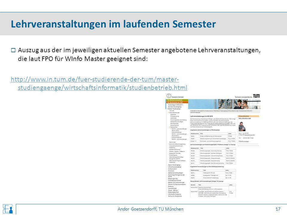 Andor Goetzendorff, TU München  Auszug aus der im jeweiligen aktuellen Semester angebotene Lehrveranstaltungen, die laut FPO für WInfo Master geeigne