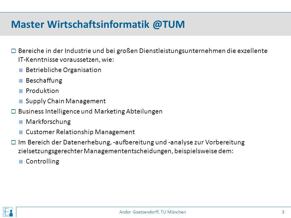 Andor Goetzendorff, TU München  Bereiche in der Industrie und bei großen Dienstleistungsunternehmen die exzellente IT-Kenntnisse voraussetzen, wie: ■