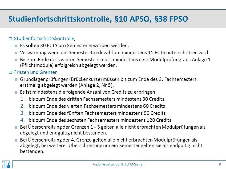 Andor Goetzendorff, TU München  Studienfortschrittskontrolle, ■ Es sollen 30 ECTS pro Semester erworben werden. ■ Verwarnung wenn die Semester-Credit