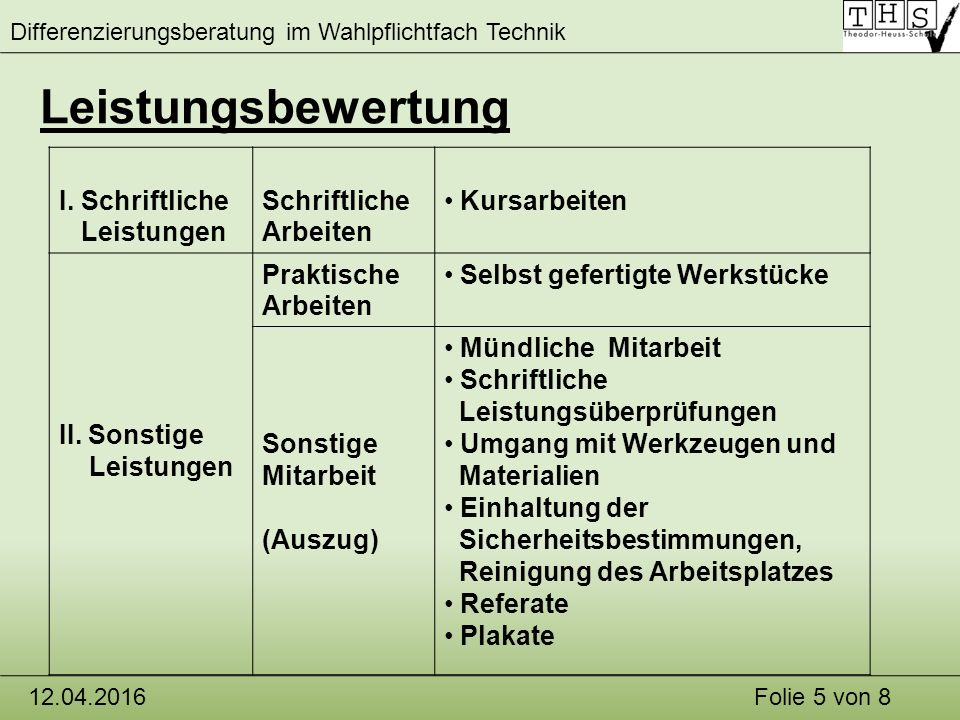 Differenzierungsberatung im Wahlpflichtfach Technik 12.04.2016Folie 5 von 8 Leistungsbewertung I.