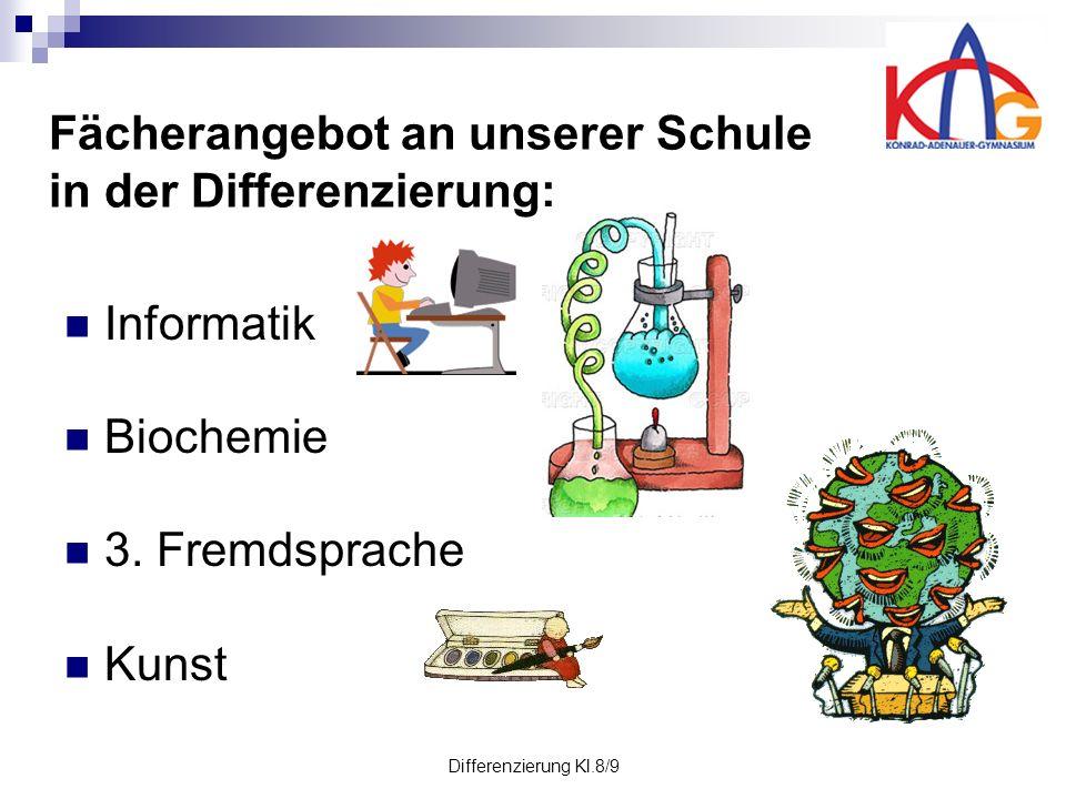 Differenzierung Kl.8/9 Fächerangebot an unserer Schule in der Differenzierung: Informatik Biochemie 3.