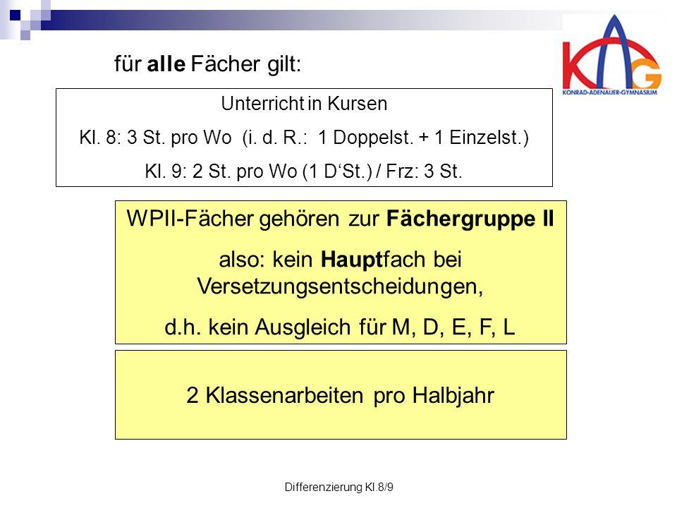 Differenzierung Kl.8/9 Unterricht in Kursen Kl. 8: 3 St.