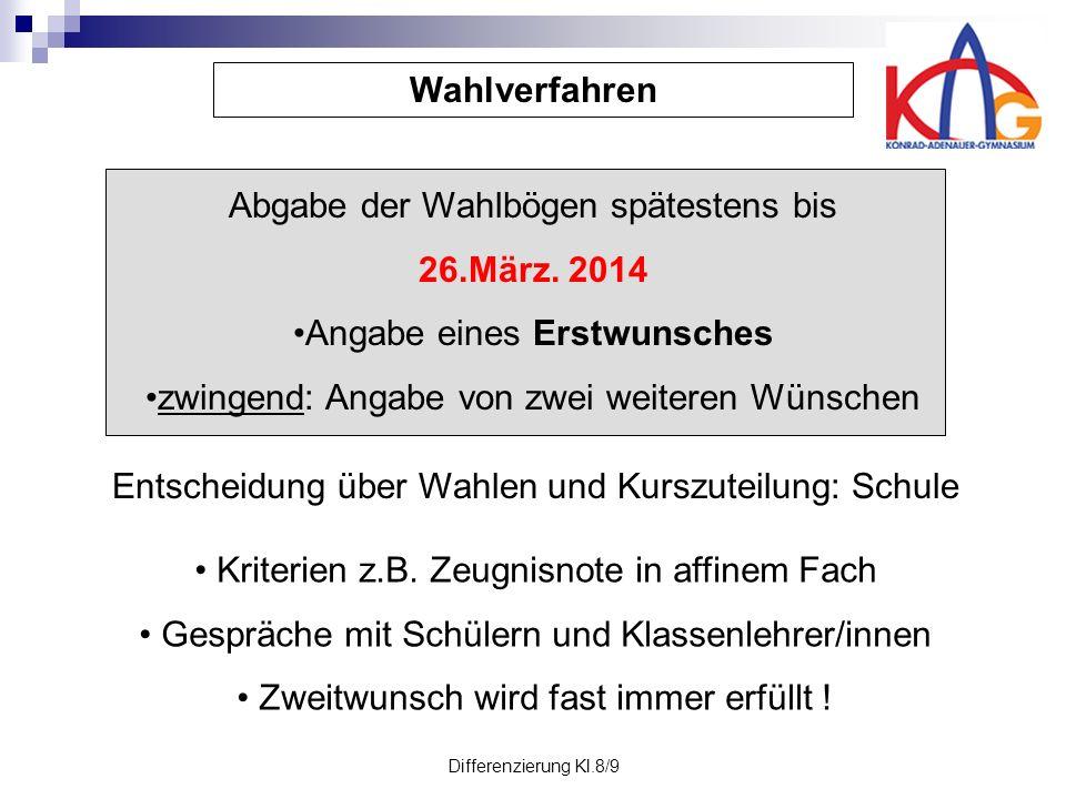 Differenzierung Kl.8/9 Wahlverfahren Abgabe der Wahlbögen spätestens bis 26.März.