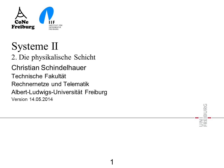 Die einfachste Bitübertragung  Bit 1: Strom an  Bit 0: Strom aus Schicht 0 Physikalische Verbindung Schicht 1: Bit zu Spannung Schicht 1: Spannung zu Bit Bit=1: Schalter zu Bit=0: Schalter auf Spannung: Bit 1 Keine Spannung: Bit 0 (aus Vorlesung von Holger Karl) 12