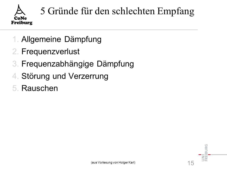 5 Gründe für den schlechten Empfang 1.Allgemeine Dämpfung 2.Frequenzverlust 3.Frequenzabhängige Dämpfung 4.Störung und Verzerrung 5.Rauschen 15 (aus V