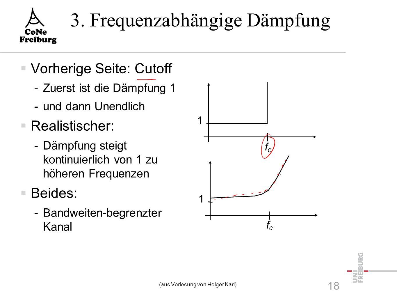 3. Frequenzabhängige Dämpfung 18  Vorherige Seite: Cutoff -Zuerst ist die Dämpfung 1 -und dann Unendlich  Realistischer: -Dämpfung steigt kontinuier