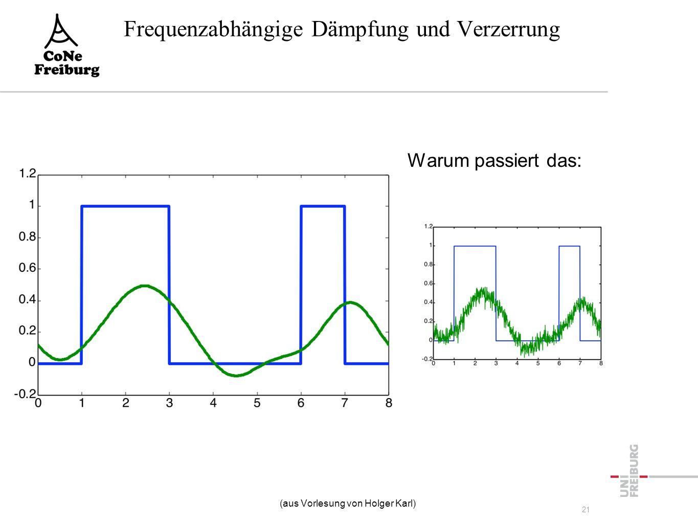 Warum passiert das: Frequenzabhängige Dämpfung und Verzerrung (aus Vorlesung von Holger Karl) 21