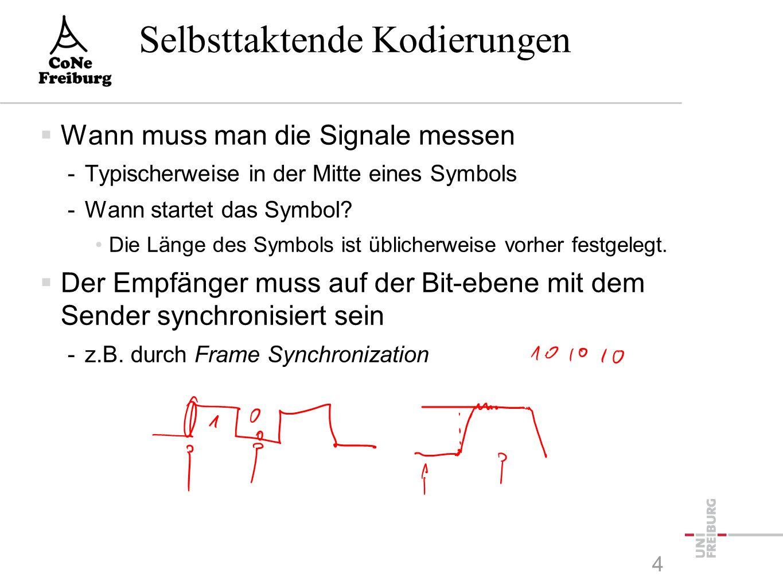 Selbsttaktende Kodierungen  Wann muss man die Signale messen -Typischerweise in der Mitte eines Symbols -Wann startet das Symbol? Die Länge des Symbo