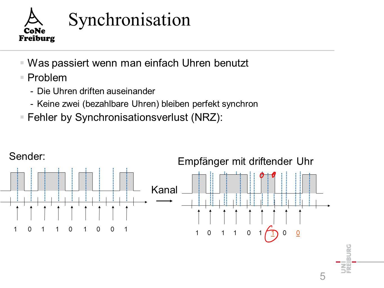 Lösung der Synchronisation  Ohne Kontrolle keine Synchronisation  Lösung: explizites Uhrensignal -Benötigt parallele Übertragung über Extra-Kanal -Muss mit den Daten synchronisiert sein -Nur für kurze Übertragungen sinnvoll  Synchronisation an kritischen Zeitpunkten -z.B.