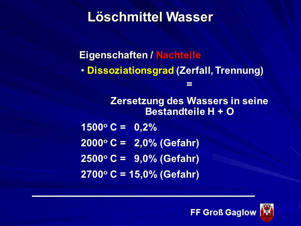 FF Groß Gaglow Eigenschaften / Nachteile Wasser gefriert bei Temperaturen unter 0° C - nicht mehr förderbar - Vergrößerung des Volumens um ca. 10 % ni