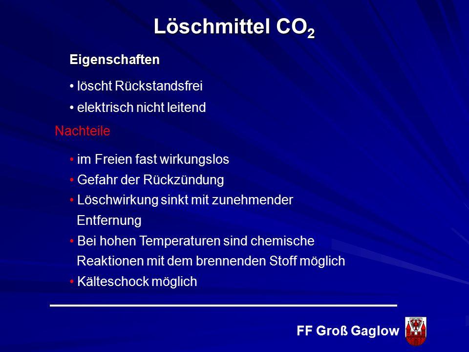 FF Groß Gaglow Eigenschaften / Nachteile Dissoziationsgrad (Zerfall, Trennung) = Zersetzung von Kohlendioxid in seine Bestandteile C + O 1600 o C = 3,0% (Gefahr) 2000 o C = 7,0% (Gefahr) 2200 o C = 15,0% (Gefahr) 2400 o C = 40,0% (Gefahr) Löschmittel CO 2