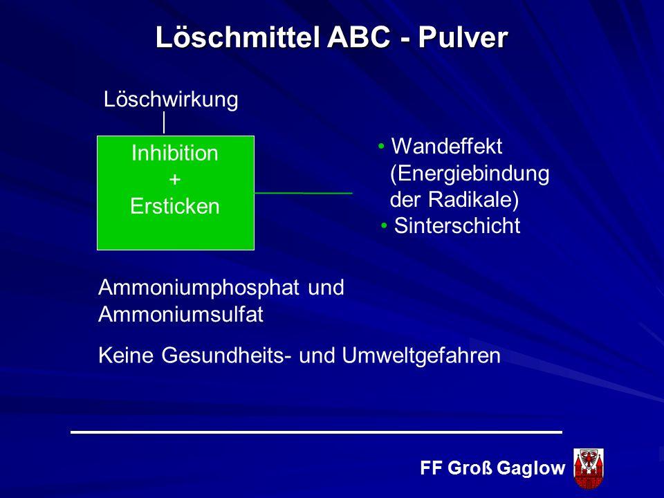 FF Groß Gaglow Brandklasse D Brennbare Metalle Löschmittel BC - Pulver Brandklasse F Fettbrände