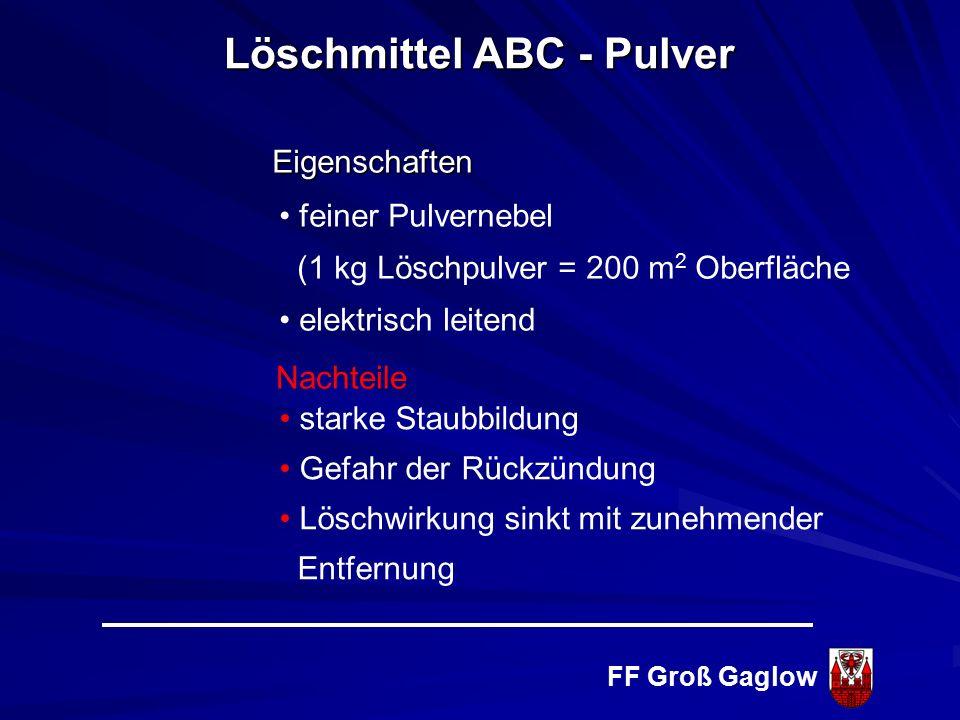 FF Groß Gaglow Ammoniumphosphat und Ammoniumsulfat Keine Gesundheits- und Umweltgefahren Löschmittel ABC - Pulver Inhibition + Ersticken Wandeffekt (E