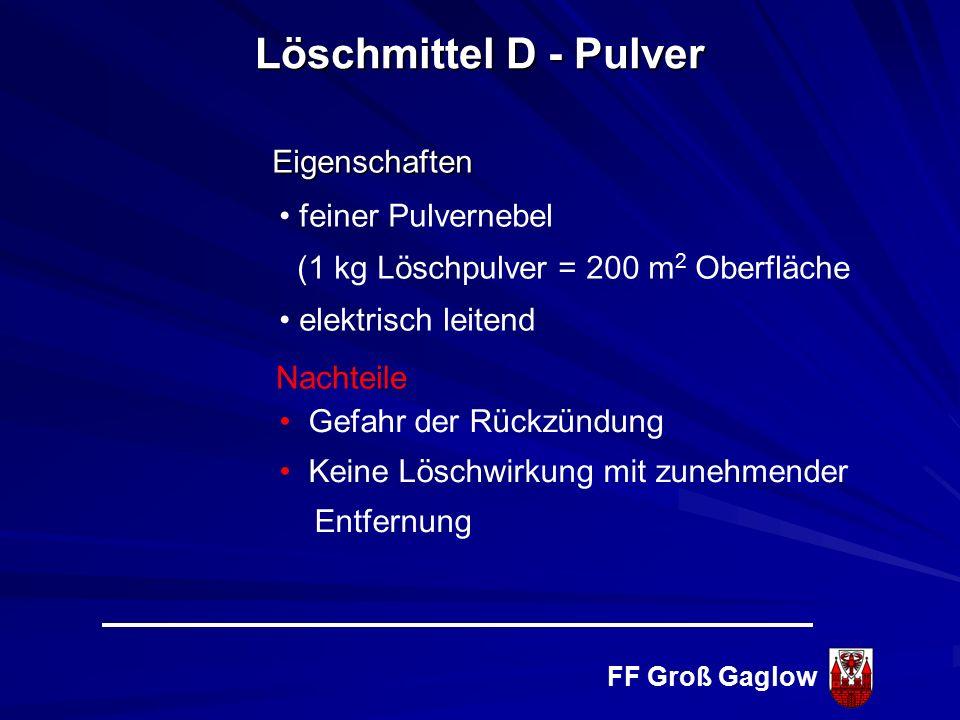 FF Groß Gaglow Ersticken Sinterschicht Häufig Salzgemische Keine Gesundheits- und Umweltgefahren Löschmittel D - Pulver Löschwirkung