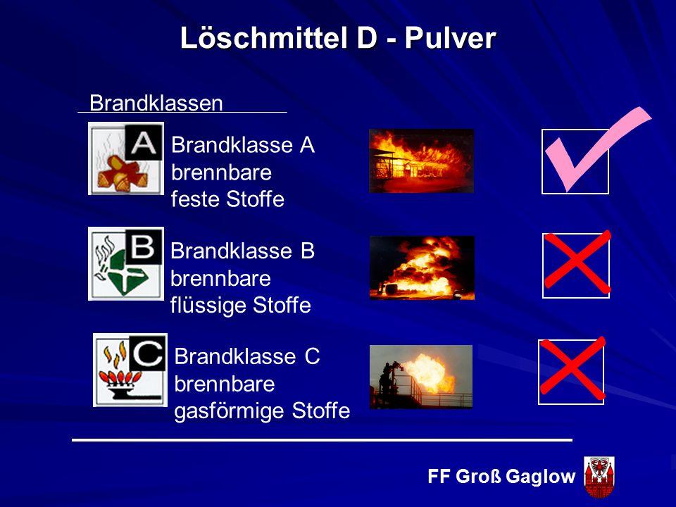 FF Groß Gaglow Eigenschaften feiner Pulvernebel (1 kg Löschpulver = 200 m 2 Oberfläche elektrisch leitend Nachteile Gefahr der Rückzündung Keine Lösch