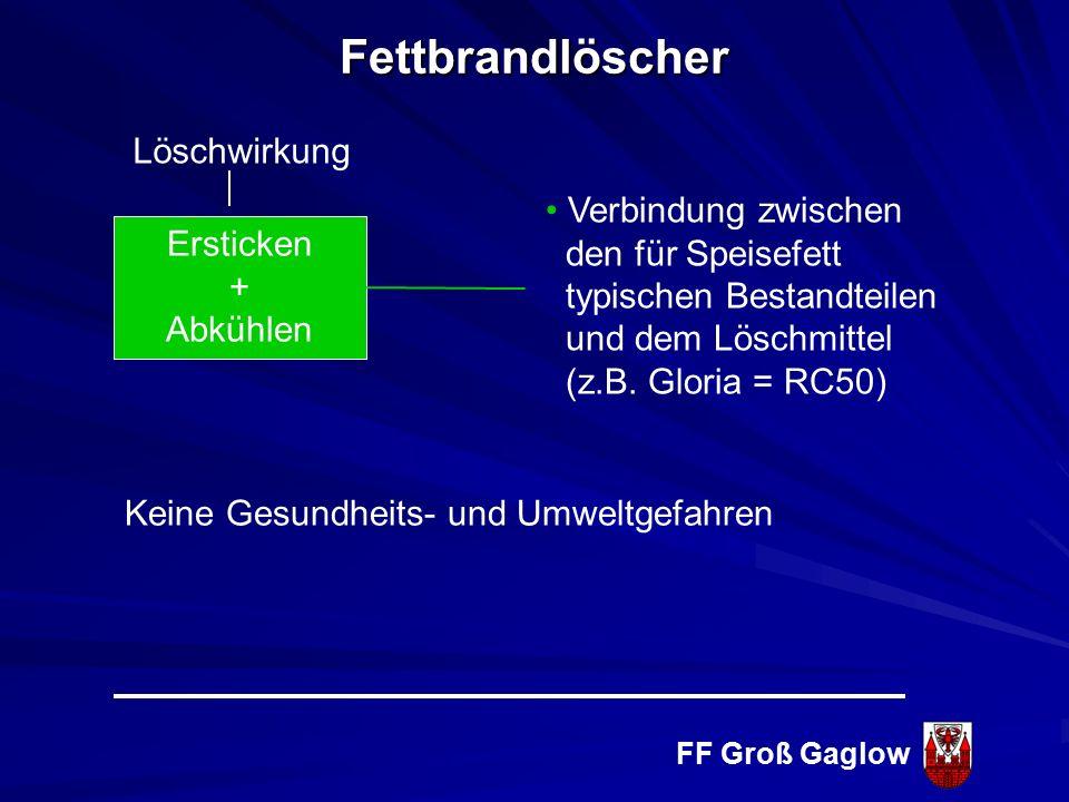FF Groß Gaglow Löschmittel D - Pulver Brandklasse D Brennbare Metalle Brandklasse F Fettbrände