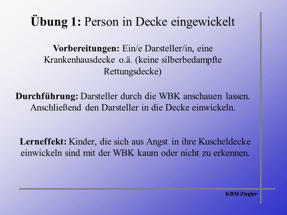 KBM Ziegler Übung 1: Person in Decke eingewickelt Vorbereitungen: Ein/e Darsteller/in, eine Krankenhausdecke o.ä.