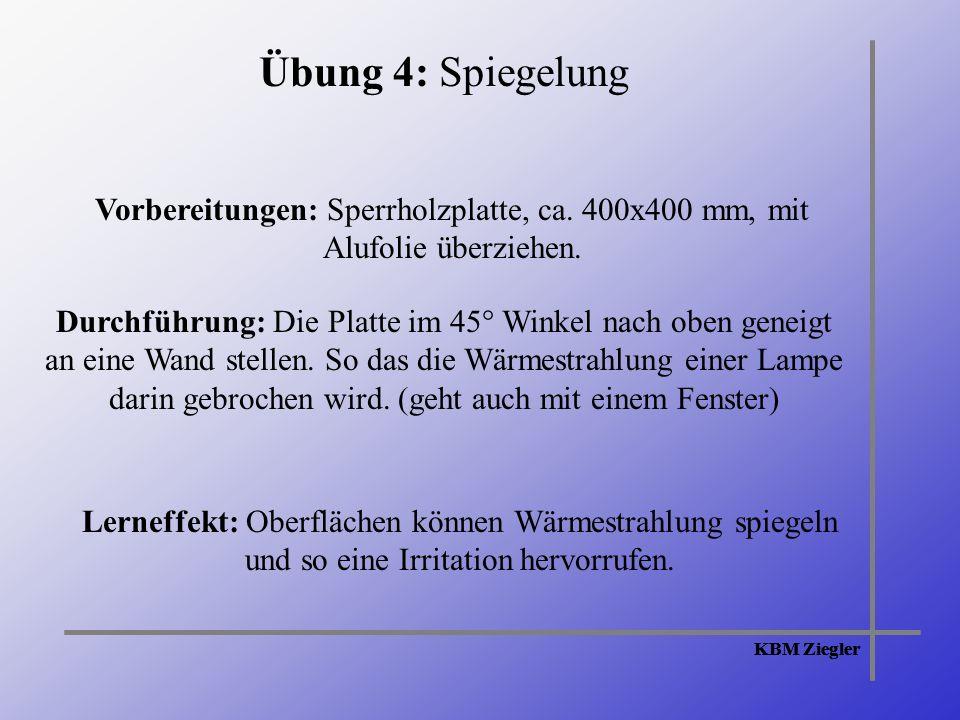 KBM Ziegler Übung 4: Spiegelung Vorbereitungen: Sperrholzplatte, ca.