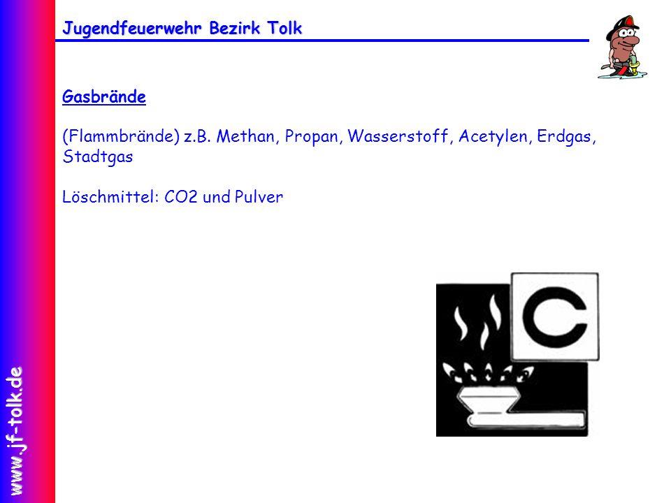Jugendfeuerwehr Bezirk Tolk www.jf-tolk.de Gasbrände (Flammbrände) z.B. Methan, Propan, Wasserstoff, Acetylen, Erdgas, Stadtgas Löschmittel: CO2 und P