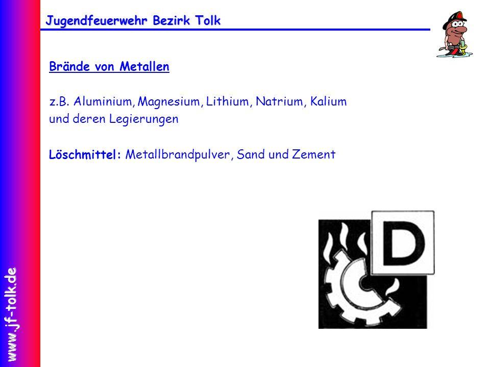 Jugendfeuerwehr Bezirk Tolk www.jf-tolk.de Brände von Metallen z.B. Aluminium, Magnesium, Lithium, Natrium, Kalium und deren Legierungen Löschmittel: