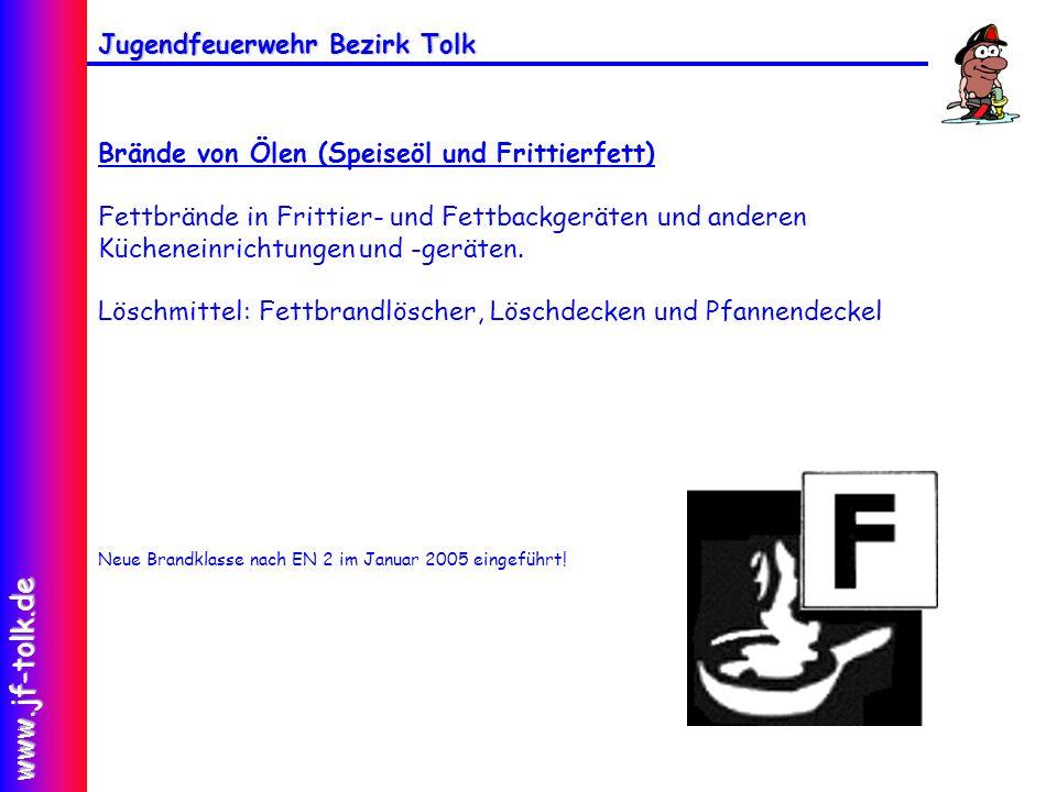 Jugendfeuerwehr Bezirk Tolk www.jf-tolk.de Brände von Ölen (Speiseöl und Frittierfett) Fettbrände in Frittier- und Fettbackgeräten und anderen Küchene