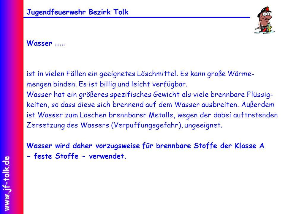 Jugendfeuerwehr Bezirk Tolk www.jf-tolk.de Wasser......