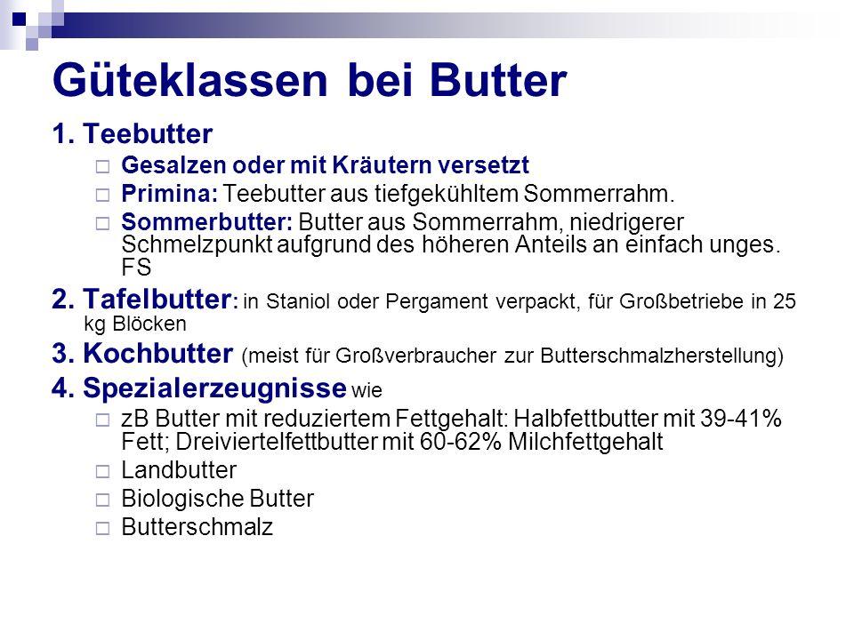 Güteklassen bei Butter 1.
