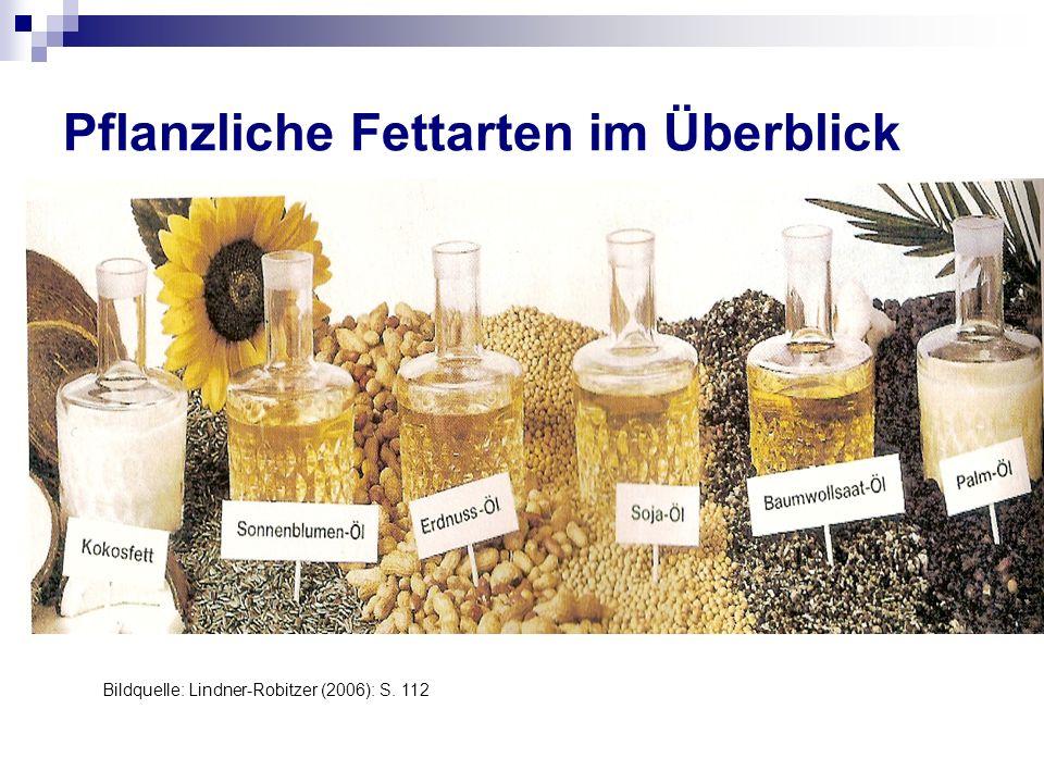 Pflanzliche Fettarten im Überblick Bildquelle: Lindner-Robitzer (2006): S. 112