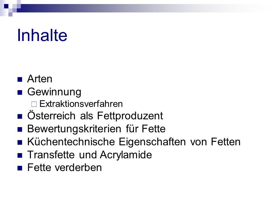 Inhalte Arten Gewinnung  Extraktionsverfahren Österreich als Fettproduzent Bewertungskriterien für Fette Küchentechnische Eigenschaften von Fetten Transfette und Acrylamide Fette verderben
