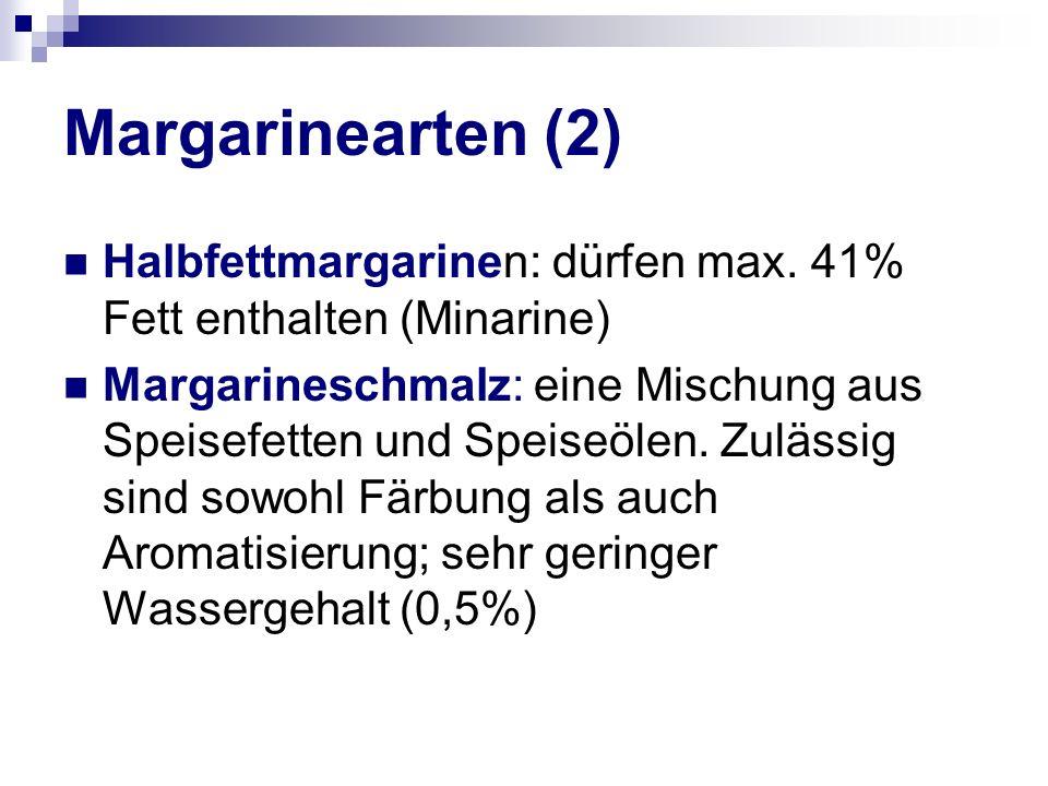 Margarinearten (2) Halbfettmargarinen: dürfen max.