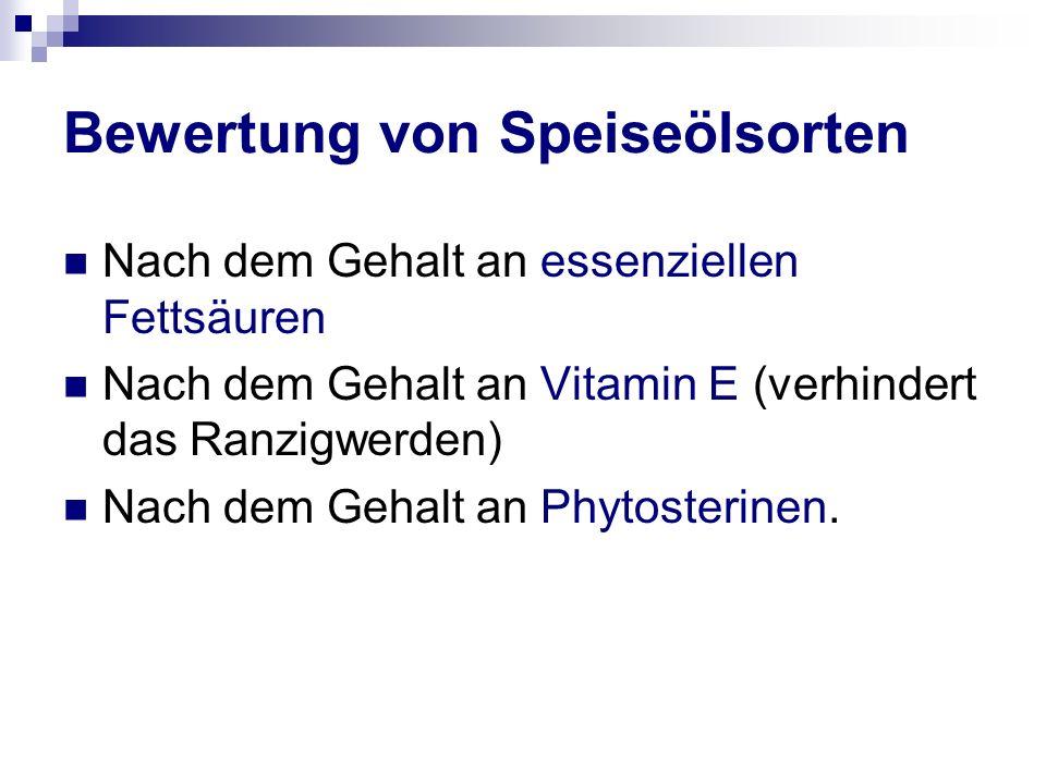Bewertung von Speiseölsorten Nach dem Gehalt an essenziellen Fettsäuren Nach dem Gehalt an Vitamin E (verhindert das Ranzigwerden) Nach dem Gehalt an Phytosterinen.