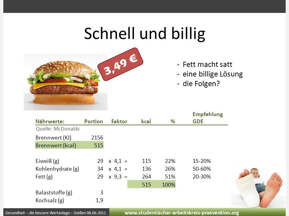 Gesundheit – die bessere Wertanlage – Gießen 08.06.2011 www.studentischer-arbeitskreis-praevention.org Schnell und billig -Fett macht satt -eine billige Lösung -die Folgen.