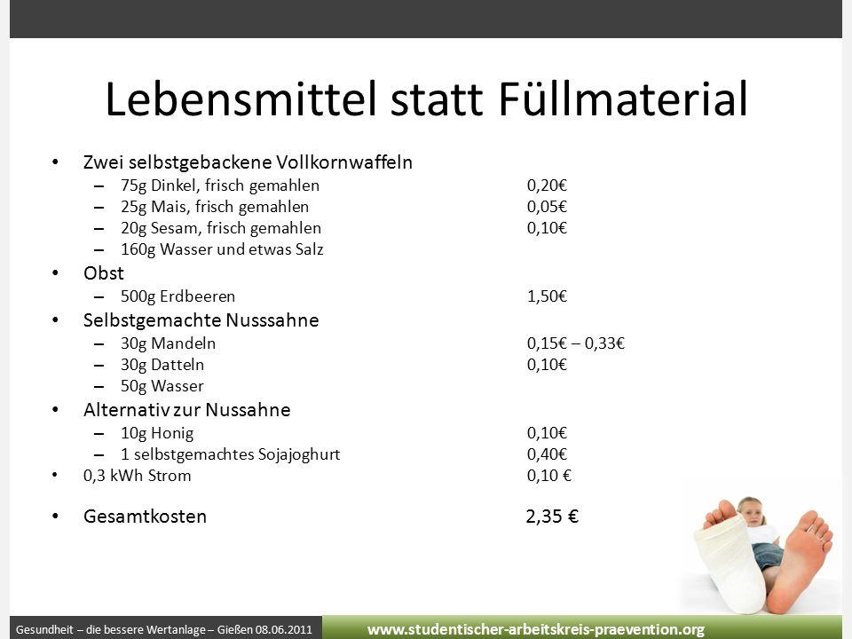 Gesundheit – die bessere Wertanlage – Gießen 08.06.2011 www.studentischer-arbeitskreis-praevention.org Lebensmittel statt Füllmaterial Zwei selbstgeba