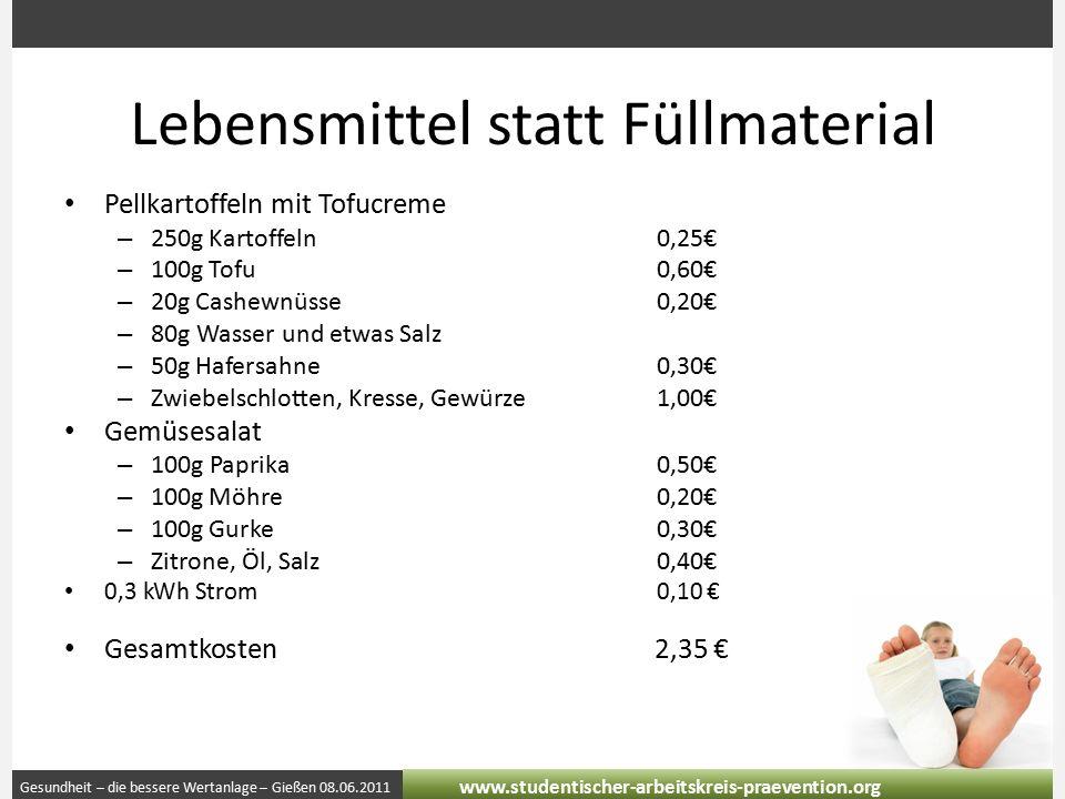 Gesundheit – die bessere Wertanlage – Gießen 08.06.2011 www.studentischer-arbeitskreis-praevention.org Lebensmittel statt Füllmaterial Pellkartoffeln