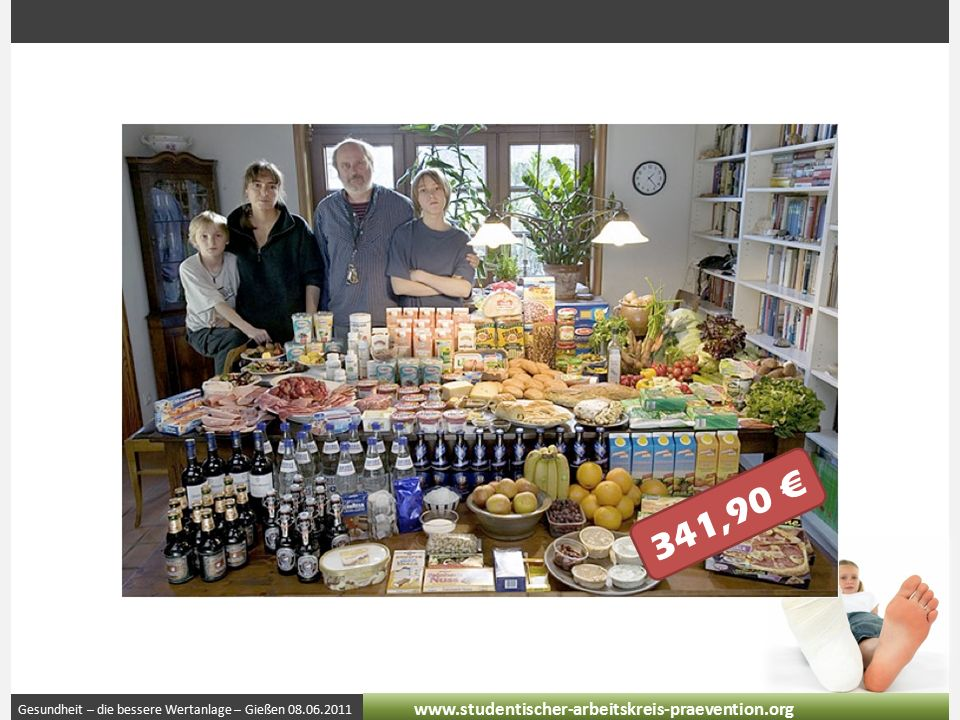 Gesundheit – die bessere Wertanlage – Gießen 08.06.2011 www.studentischer-arbeitskreis-praevention.org 341,90 €
