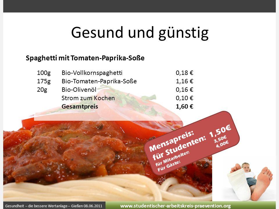 Gesundheit – die bessere Wertanlage – Gießen 08.06.2011 www.studentischer-arbeitskreis-praevention.org Gesund und günstig Spaghetti mit Tomaten-Paprika-Soße 100gBio-Vollkornspaghetti0,18 € 175gBio-Tomaten-Paprika-Soße1,16 € 20gBio-Olivenöl0,16 € Strom zum Kochen0,10 € Gesamtpreis1,60 € Mensapreis: für Studenten:1,50€ für Mitarbeiter:3,50€ Für Gäste:4,00€