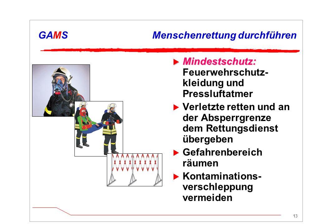 12 GAMSAbsperren und Absichern  Zündquellen vermeiden  Brandschutz vorbereiten meist 3-fach: Wasser, Schaum, Pulver  Brandbekämpfung durchführen ggf.