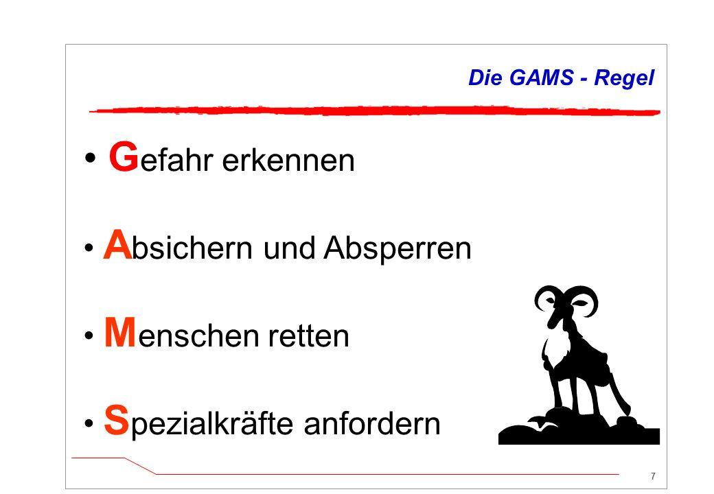 27 Zusammenfassung: Die GAMS-Regel  Erstmaßnahmen nach GAMS-Regel Gefahr erkennenStoffinformation AbsperrenMittel des Einsatzfahrzeugs MenschenrettungEigenschutz beachten.