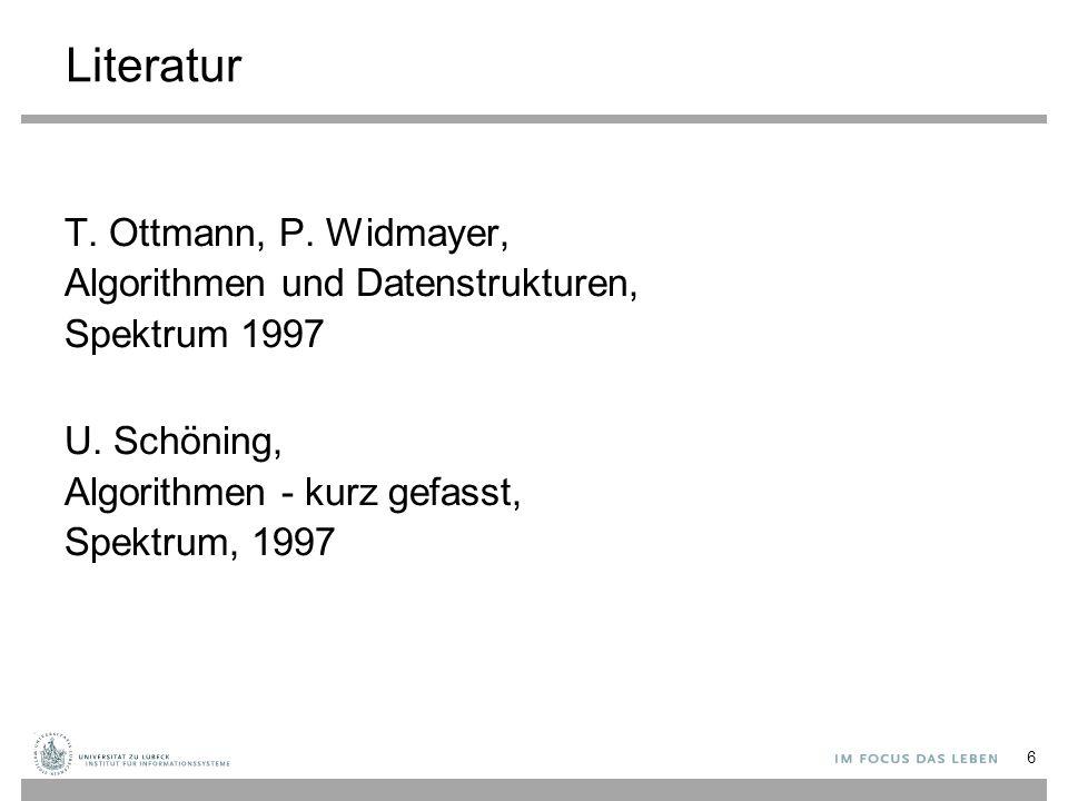 Literatur T. Ottmann, P. Widmayer, Algorithmen und Datenstrukturen, Spektrum 1997 U. Schöning, Algorithmen - kurz gefasst, Spektrum, 1997 6