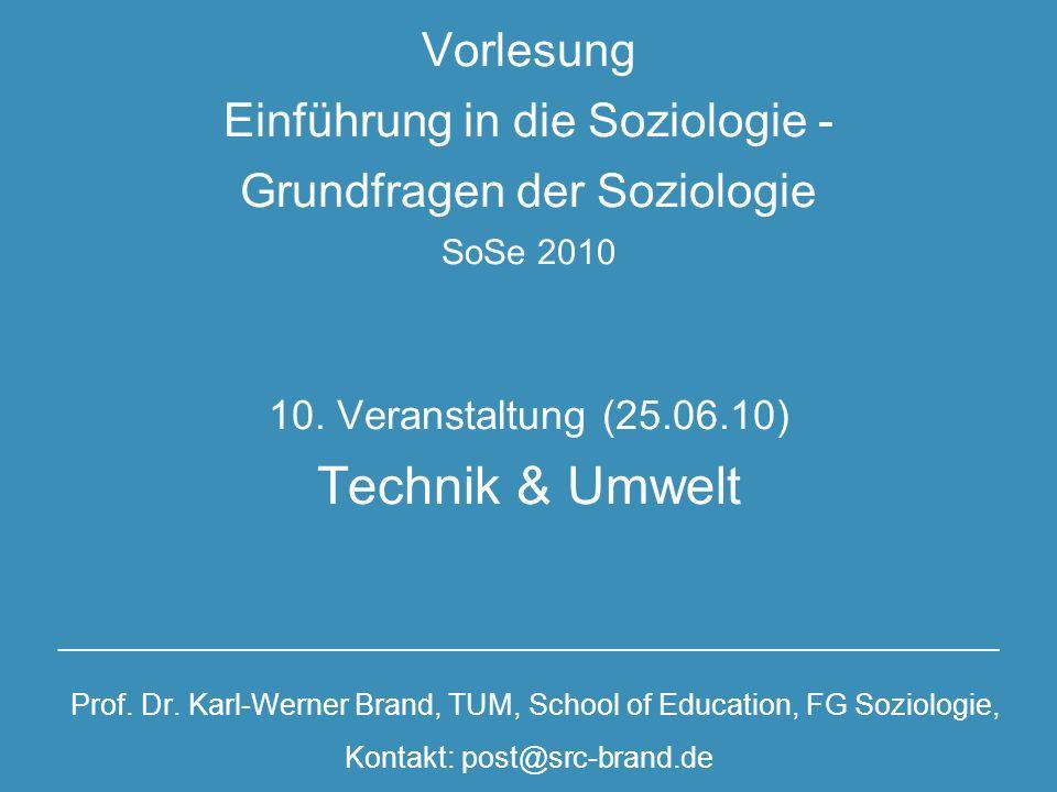 Vorlesung Einführung in die Soziologie - Grundfragen der Soziologie SoSe 2010 10.