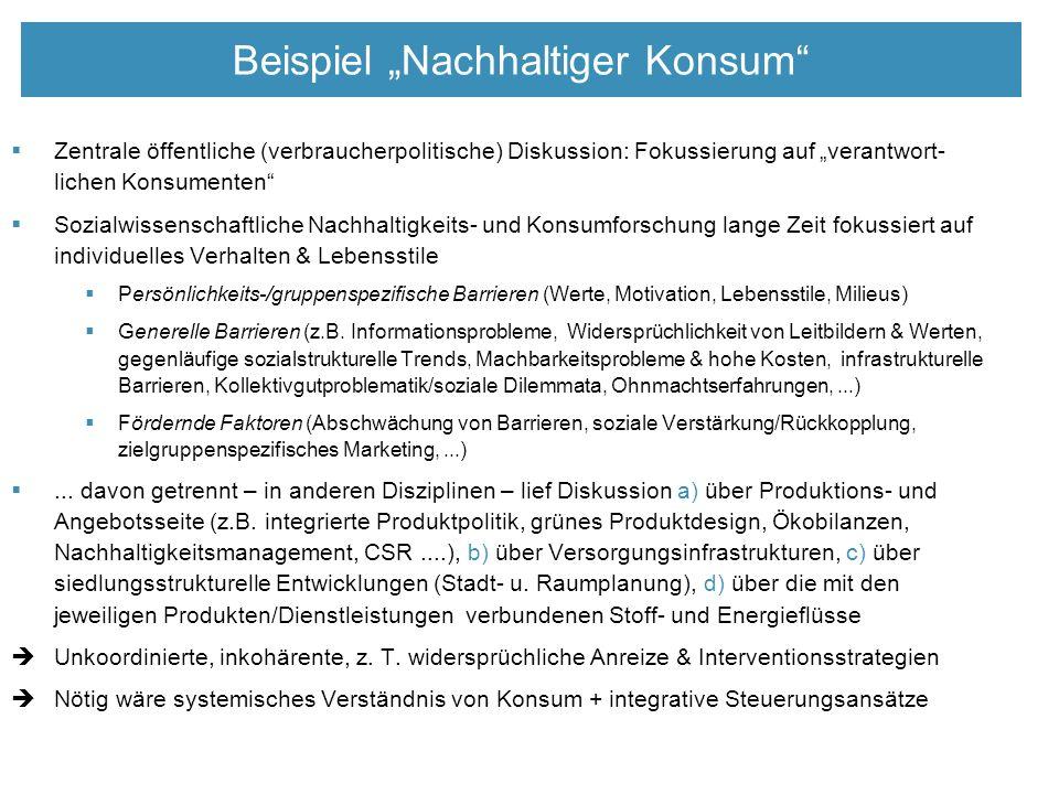 """Beispiel """"Nachhaltiger Konsum  Zentrale öffentliche (verbraucherpolitische) Diskussion: Fokussierung auf """"verantwort- lichen Konsumenten  Sozialwissenschaftliche Nachhaltigkeits- und Konsumforschung lange Zeit fokussiert auf individuelles Verhalten & Lebensstile  Persönlichkeits-/gruppenspezifische Barrieren (Werte, Motivation, Lebensstile, Milieus)  Generelle Barrieren (z.B."""