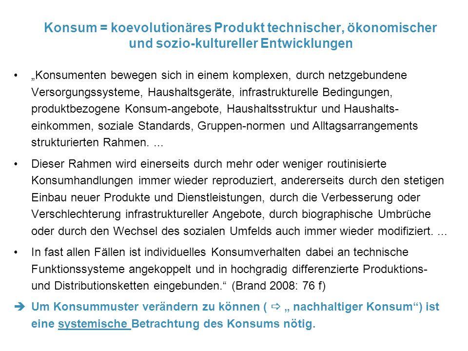 """Konsum = koevolutionäres Produkt technischer, ökonomischer und sozio-kultureller Entwicklungen """"Konsumenten bewegen sich in einem komplexen, durch netzgebundene Versorgungssysteme, Haushaltsgeräte, infrastrukturelle Bedingungen, produktbezogene Konsum-angebote, Haushaltsstruktur und Haushalts- einkommen, soziale Standards, Gruppen-normen und Alltagsarrangements strukturierten Rahmen...."""
